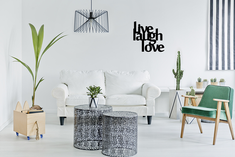 Napis na ścianę Live, Laugh, Love
