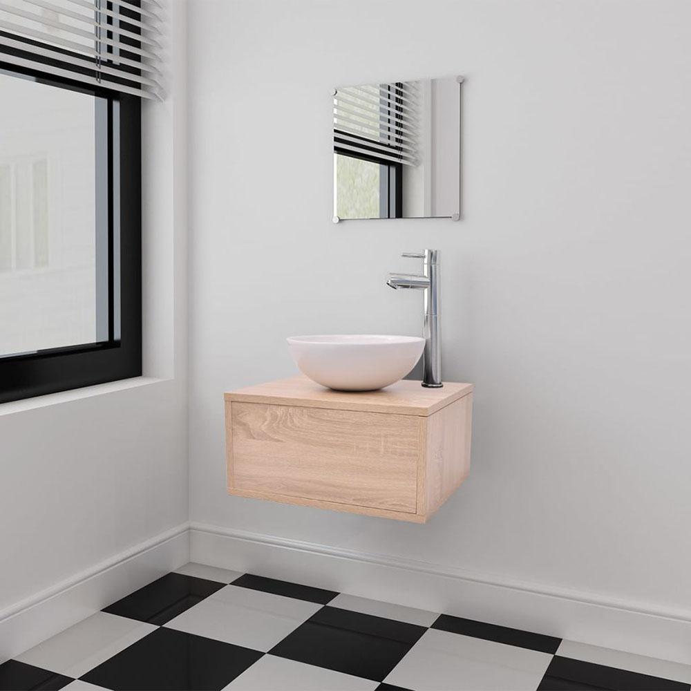3 elementowy zestaw mebli łazienkowych beżowych i umywalka