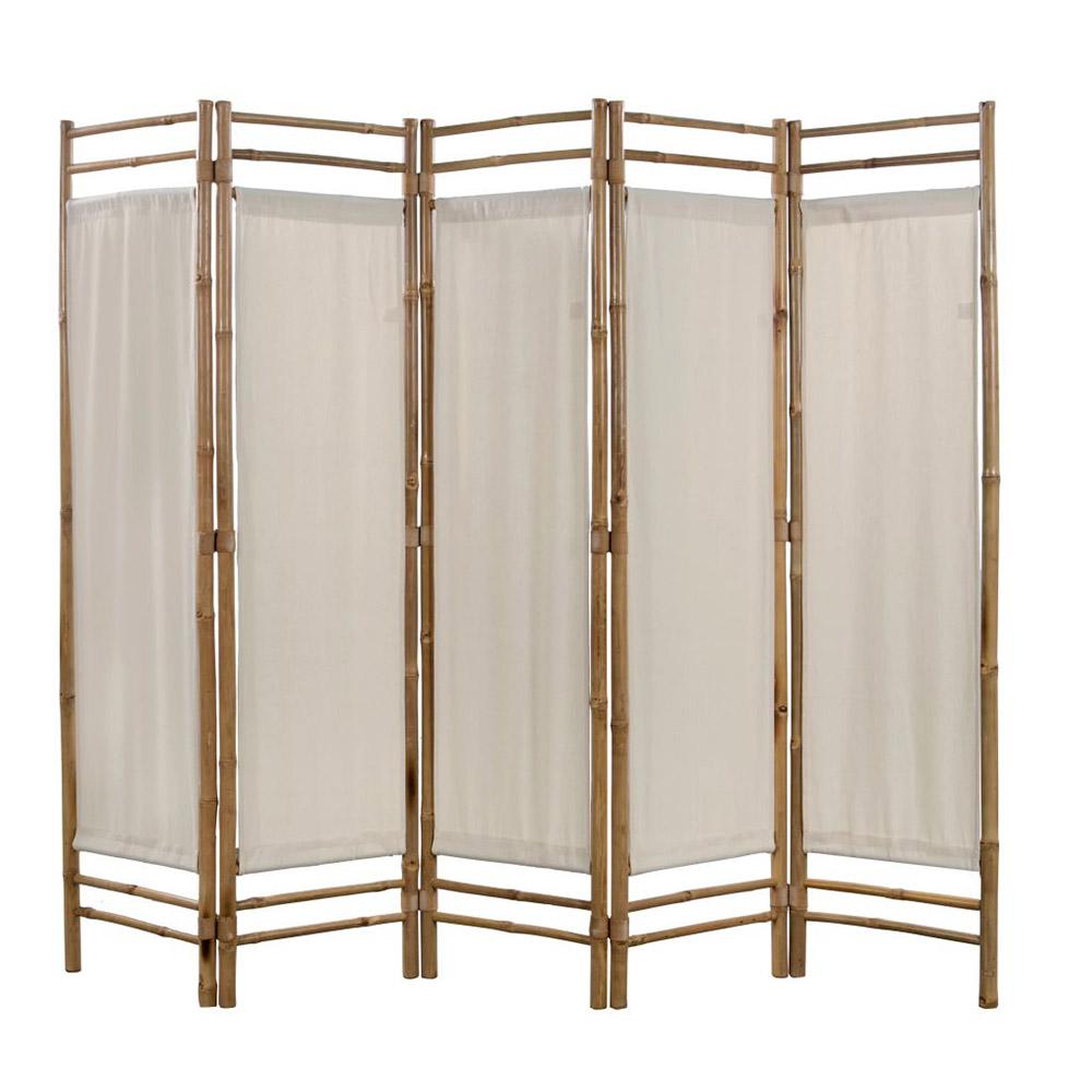 5-panelowy składany parawan z bambusowa i płótna, 200 cm