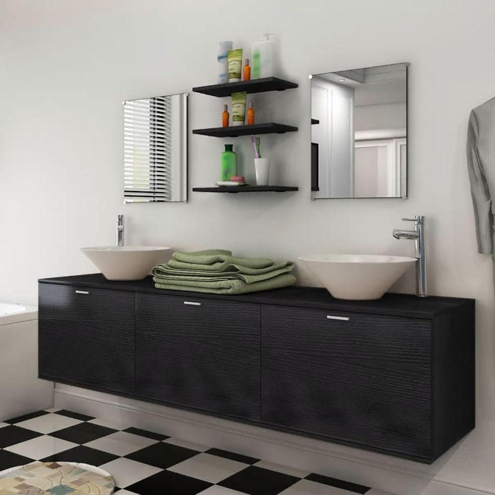 8 elementowy zestaw czarnych mebli łazienkowych z umywalkami