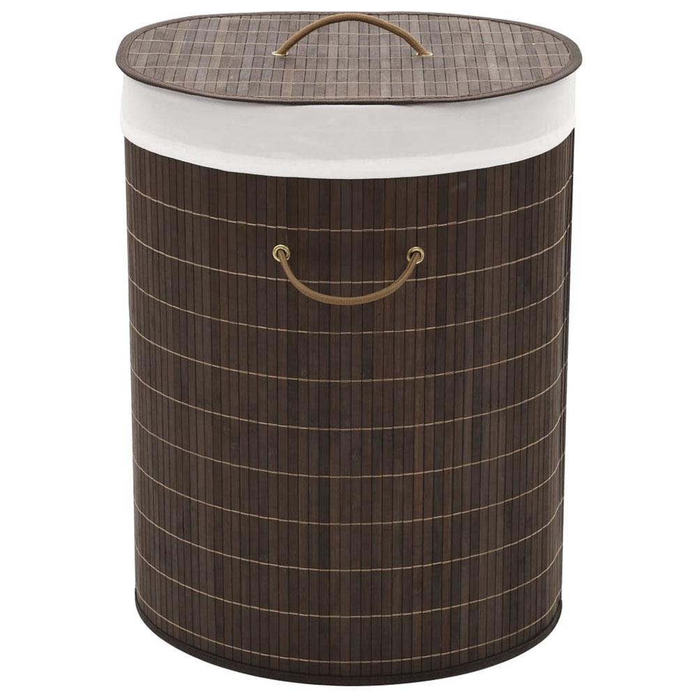 Bambusowy kosz na pranie owalny, ciemnobrązowy kolor
