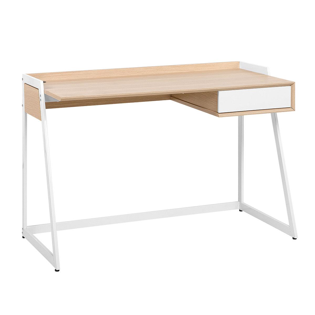 Biurko białe/jasne drewno 120 x 60 cm QUITO