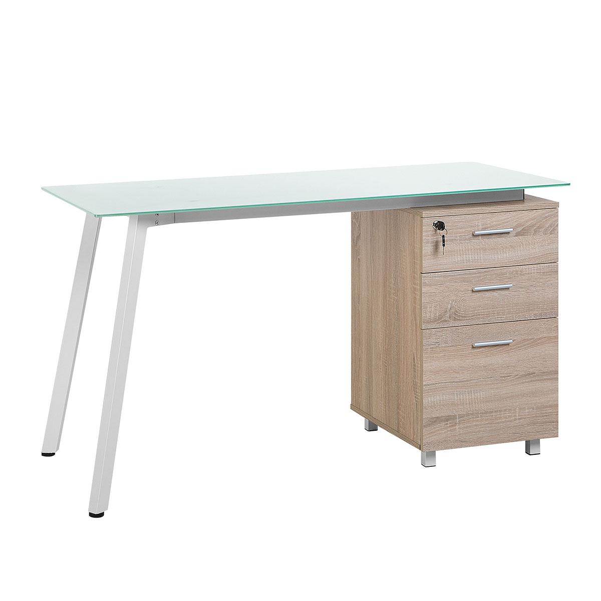 Biurko białe/jasne drewno 130 x 60 cm MONTEVIDEO