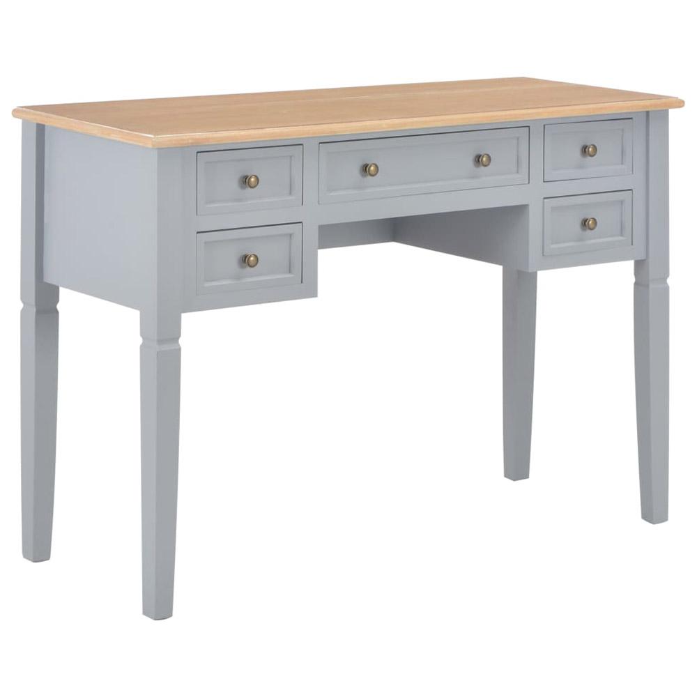 Biurko, szare, 109,5x45x77,5 cm, drewniane
