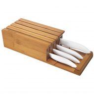Blok z 4 białymi nożami ceramicznymi Kyocera biały/drewno