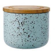 Ceramiczny pojemnik z bambusowym wieczkiem 9cm Stak Duck Egg Speckled Ladelle błękitny LD-61104
