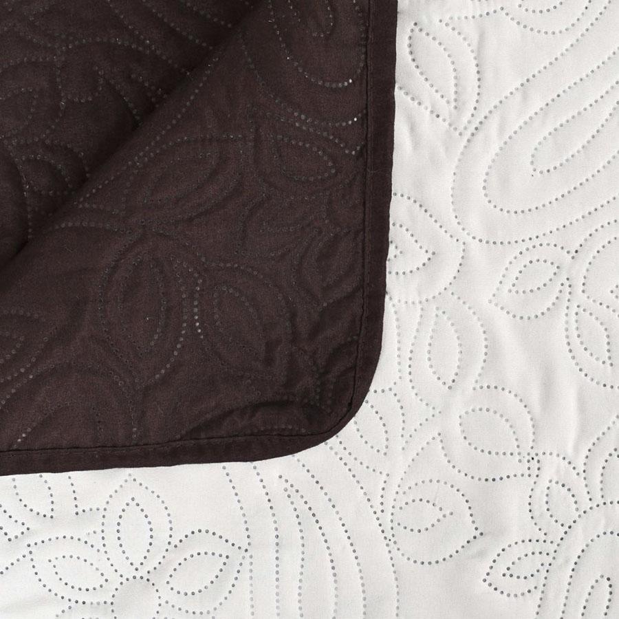 Dwustronna, pikowana narzuta, 170x210 cm, kremowo-brązowa