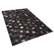 Dywan - brązowy - skóra - patchwork - 160x230 cm - Giaguaro
