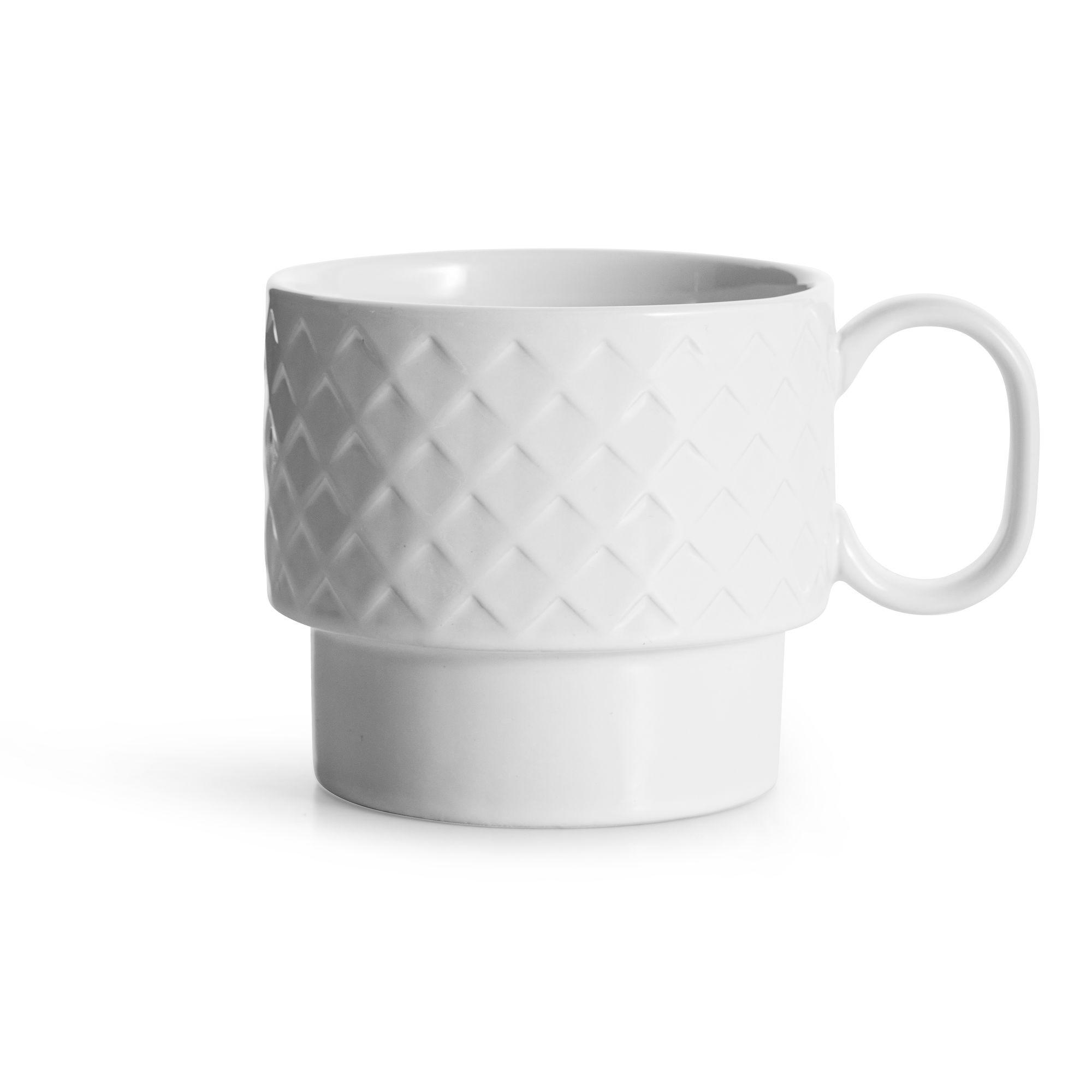 filiżanka do herbaty, biała, ceramika, 0,4 l, wys. 9 cm