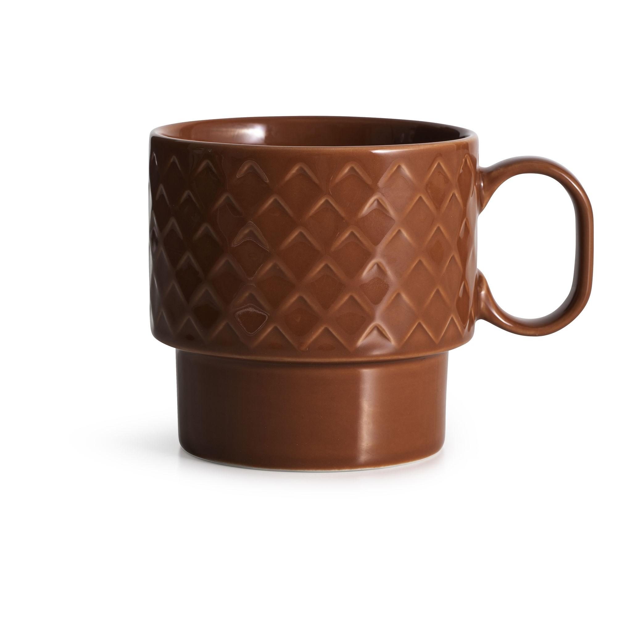 filiżanka do herbaty, czerwona, ceramika, 0,4 l, wys. 9 cm