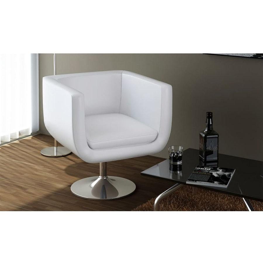 Fotel barowy ze skóry syntetycznej, biały
