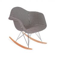 Fotel bujany 63x60x69cm King Home Plush RAR Pepitka biało-czarny