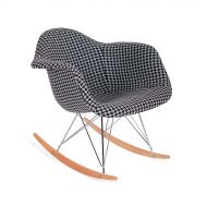 Fotel bujany 63x60x69cm King Home Plush RAR Tetris biało-czarny