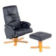 Fotel czarny ekoskóra funkcja masażu z podnóżkiem Colombo