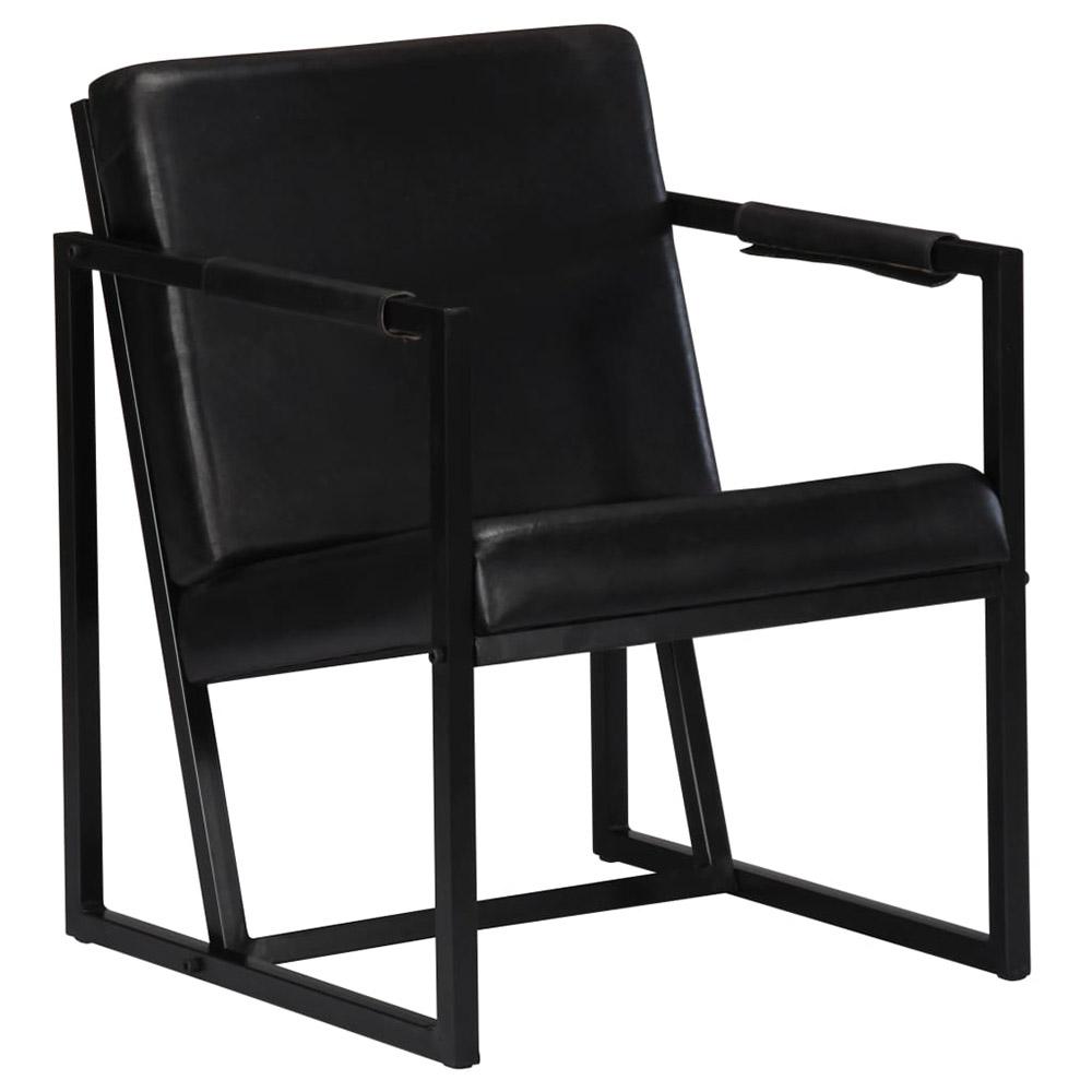 Fotel, czarny, skóra naturalna