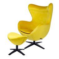 Fotel Egg Velvet Black King Home szeroki z podnóżkiem żółty-welur