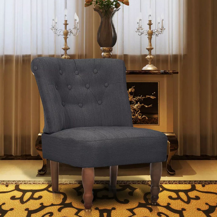 Fotel francuski, materiałowy, szary