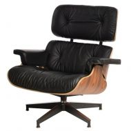 Fotel z podnóżkiem 82x54x85cm D2 Vip  czarny/rosewood/standard base
