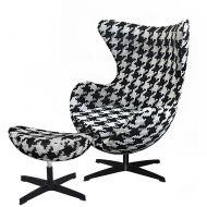 Fotel z podnóżkiem 83x107x72cm King Home Egg duża pepitka/czarny