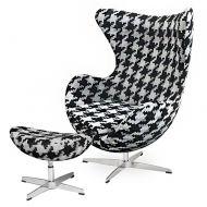 Fotel z podnóżkiem 83x107x72cm King Home Egg duża pepitka/czarno-biały