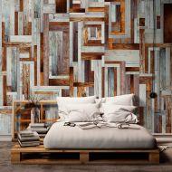 Fototapeta - Labirynt z drewnianych desek (50x1000 cm)