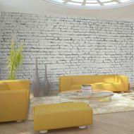Fototapeta - Ściana z białej surowej cegły (550x270 cm)
