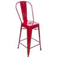 Krzesło barowe 44x50x108,5cm King Home Tower Back czerwone