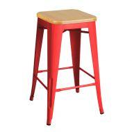 Krzesło barowe 41x41x65cm King Home Tower Wood sosna/czerwone