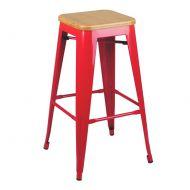 Krzesło barowe 43,5x43,5x75cm King Home Tower Wood jesion/czerwone