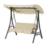 Huśtawka beżowa - meble ogrodowe - stal - ławka - Ambrogio
