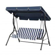 Huśtawka niebiesko-biała - meble ogrodowe - stal - ławka - Cammello