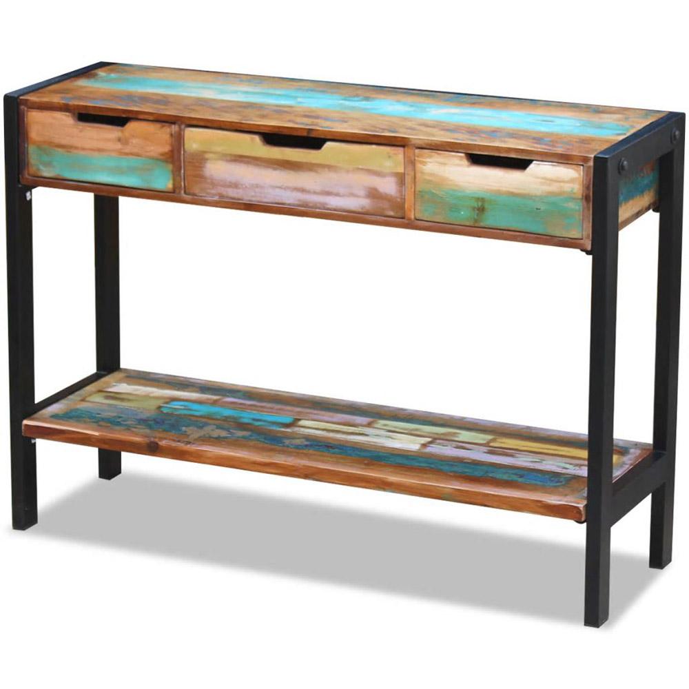 Kredens, konsola z drewna odzyskanego z 3 szufladami