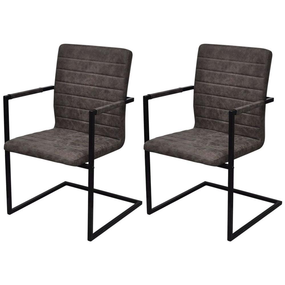 Krzesła do jadalni, 2 szt., wspornikowe, brązowe