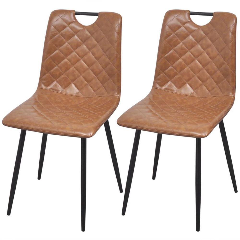 Krzesła do jadalni ze sztucznej skóry 2 szt. jasny brąz