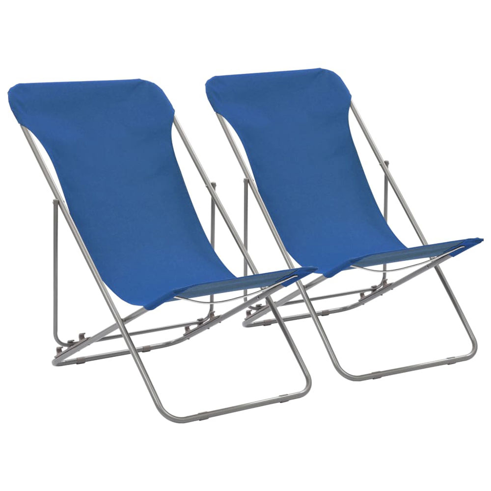 Krzesła plażowe, 2 szt., stal i tkanina Oxford, niebieskie