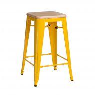 Krzesło barowe Paris Wood D2 75cm żółte/sosna naturalna