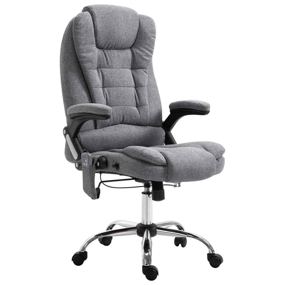 Krzesło biurowe z masażem, szare, poliester