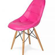 Krzesło EKO WOOD wściekły róż T18 - ekoskóra, podstawa bukowa / outlet