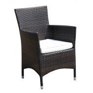 Krzesło ogrodowe rattan ciemnobrązowe poducha biała Corrado