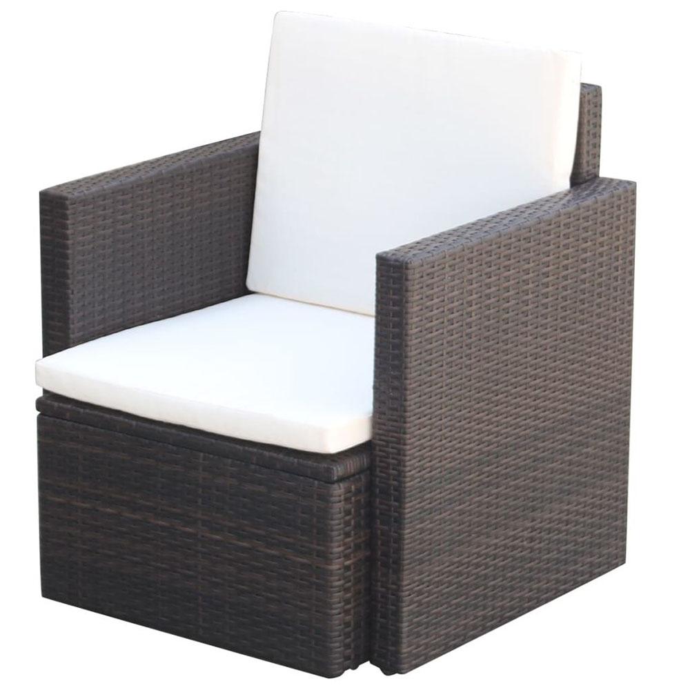 Krzesło ogrodowe z poduszkami, polirattan, brązowe