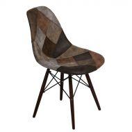 Krzesło 46x83x50cm D2 P016W patchwork beżowo-brązowe/dark