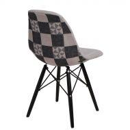 Krzesło 45x80x39cm D2 P016W Pattern szar-patch /black