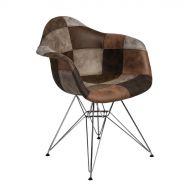 Krzesło 64x45x80cm D2 P018 DAR patchwork beżowo-brązowe