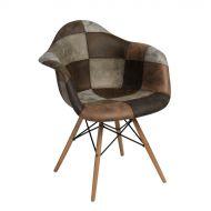Krzesło patchwork 82x62x58 cm D2.Design brązowe