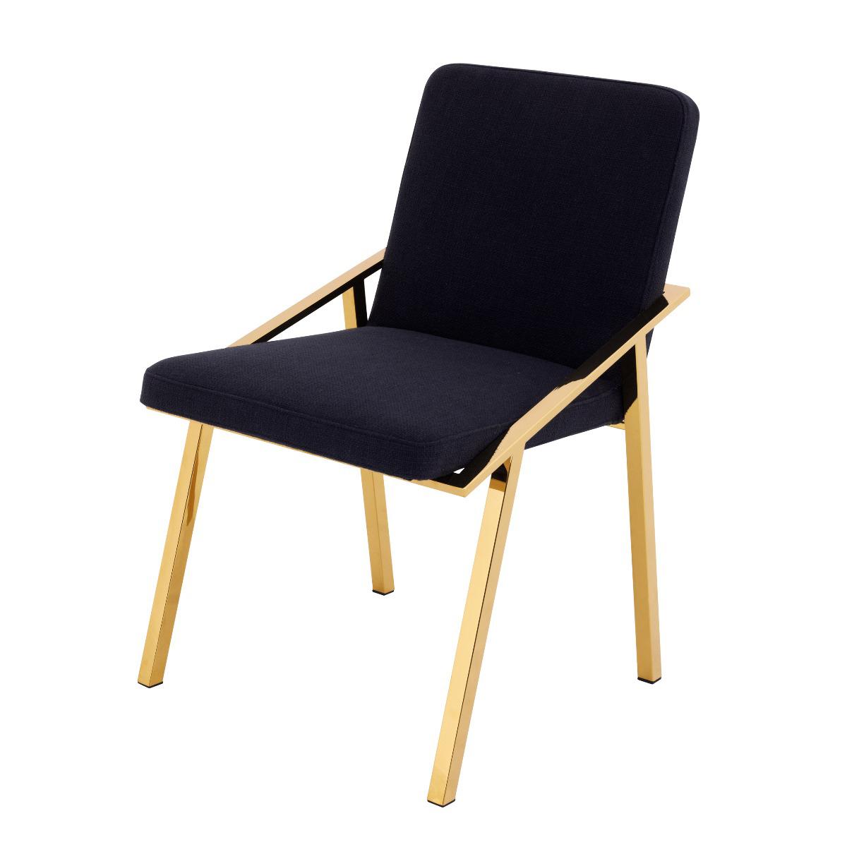 Krzesło Reynolds Gold Finish Panama Black 52x56x81 cm