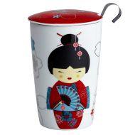 Kubek z zaparzaczką do herbaty 350ml Eigenart Gejsza biało-czerwony