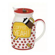 Kubek z łyżeczką i przykrywką Coffee Yeah Nuova R2S Have Fun