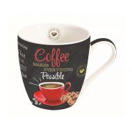 Kubek porcelanowy do kawy 0,35L Nuova R2S czarny czerwony