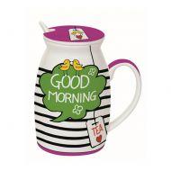 Kubek z łyżeczką i przykrywką Good Morning Nuova R2S Have Fun