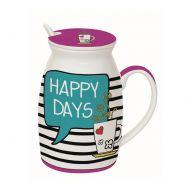 Kubek z łyżeczką i przykrywką Happy Days Nuova R2S Have Fun